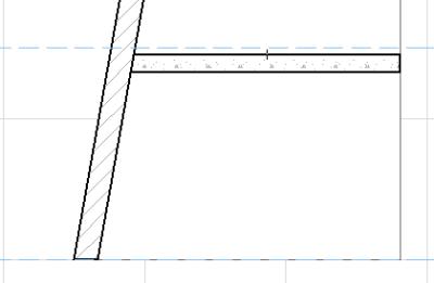 Рис. 4. Пересечение наклонной стены с перекрытием: касание по внутренней грани