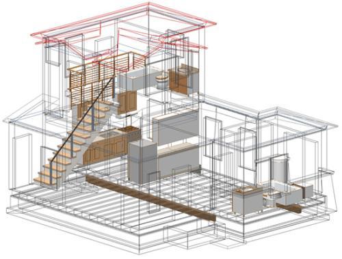 Рисунок 10. Пример визуализации здания, в котором крыши и стены отображаются в каркасном режиме, а остальные объекты - в обычном
