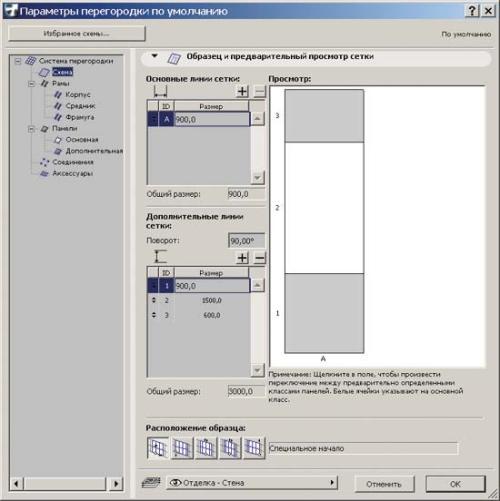 Рис. 3. Задаем схему разрезки стены: основная (прозрачная) панель - белая, дополнительная (глухая) - серая